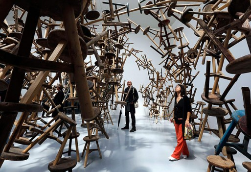 Visitors looks at Ai Wei Wei's installation Bang at the German pavilion
