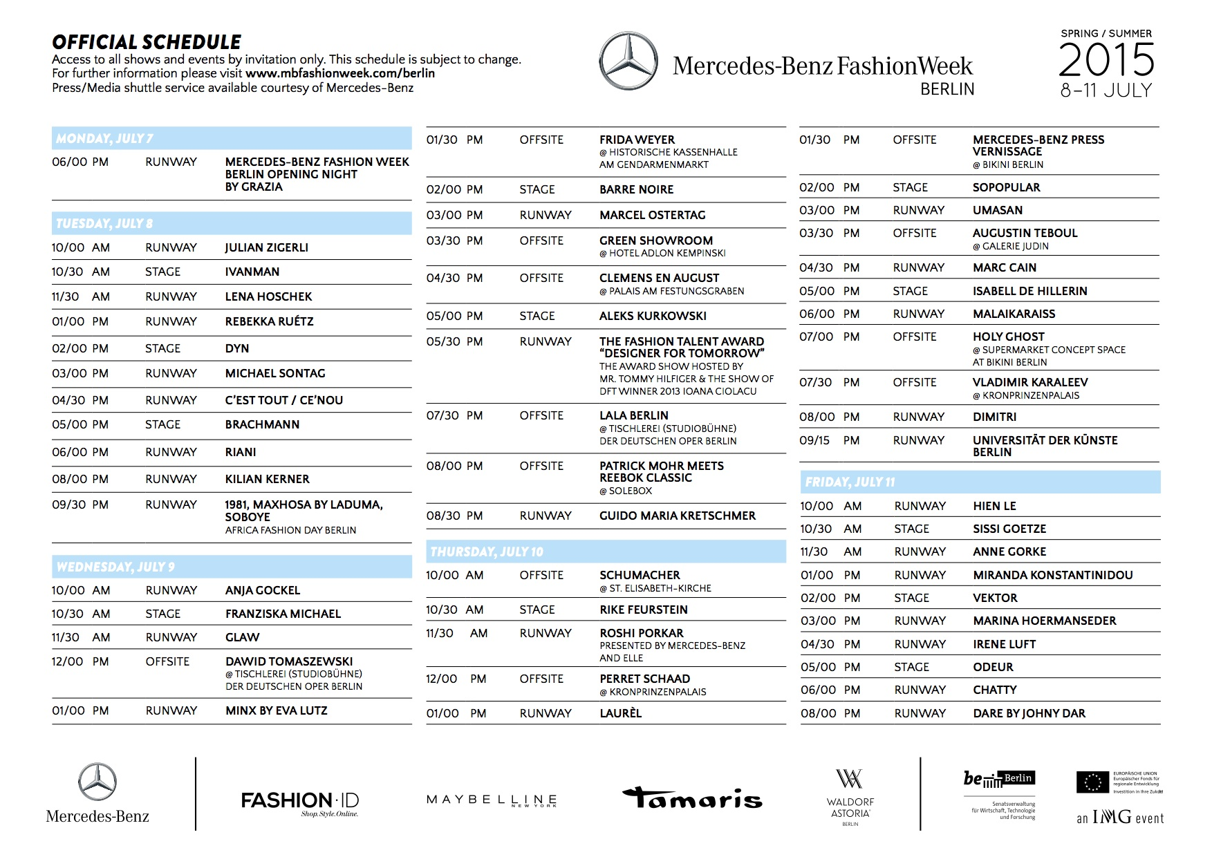 Mercedes benz fashion week australia the schedule for the for Mercedes benz schedule a