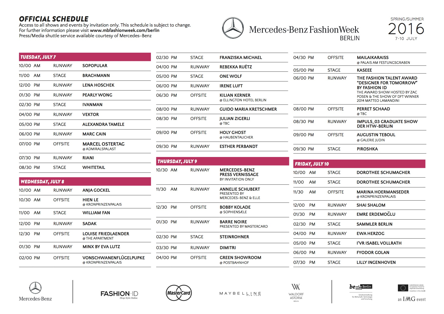 MBFWB_OFFICIAL SCHEDULE_SS2016